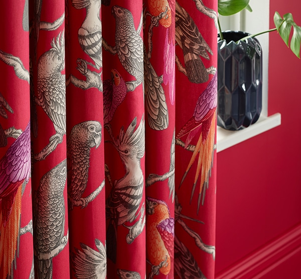 A bold bird print is very on trend Pomegranate Maldives fabric by iLiv - Curtains Norfolk - Norwich Sunblinds