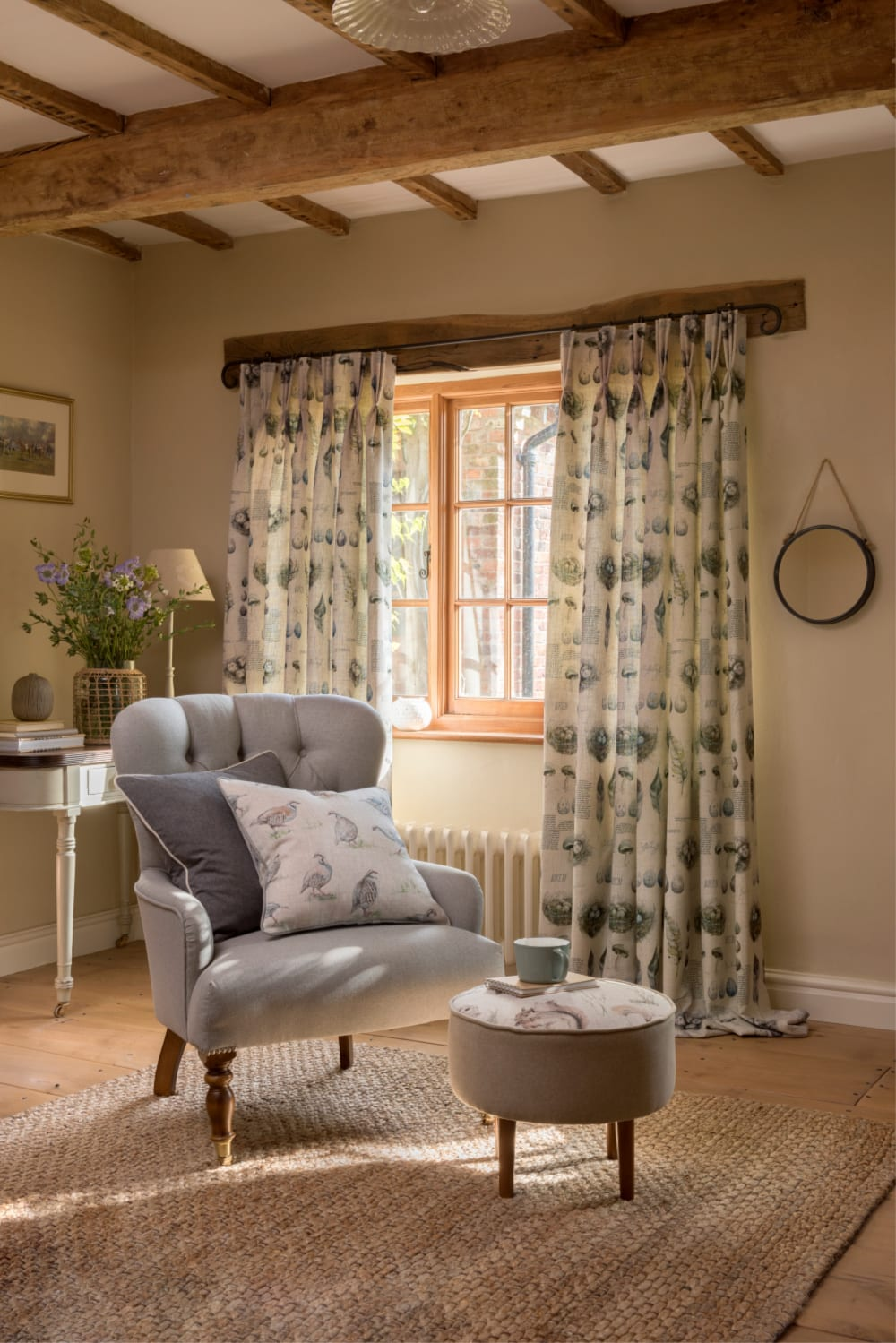 Curtains in heritage prints really suit traditional style homes Countryside fabric by Clarke & Clarke