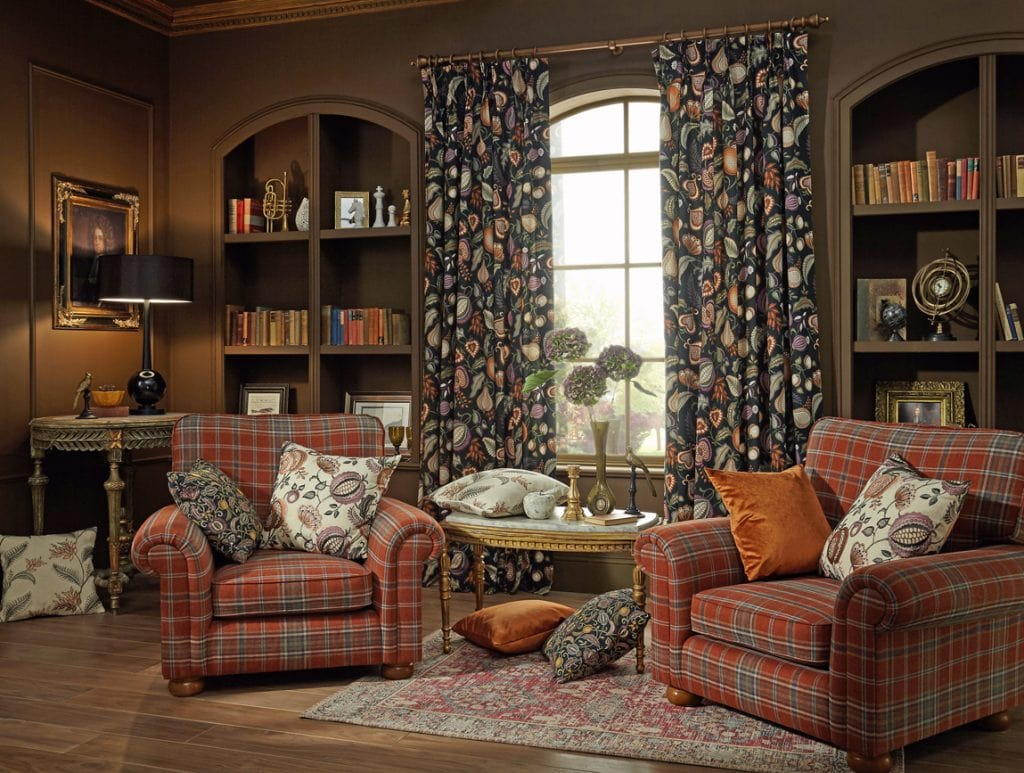 A gorgeous autumnal print works well all year round. - Curtains Norfolk - Norwich Sunblinds