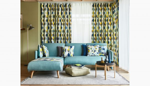 Curtains in Collage fabric - Curtains Norfolk - Norwich Sunblinds