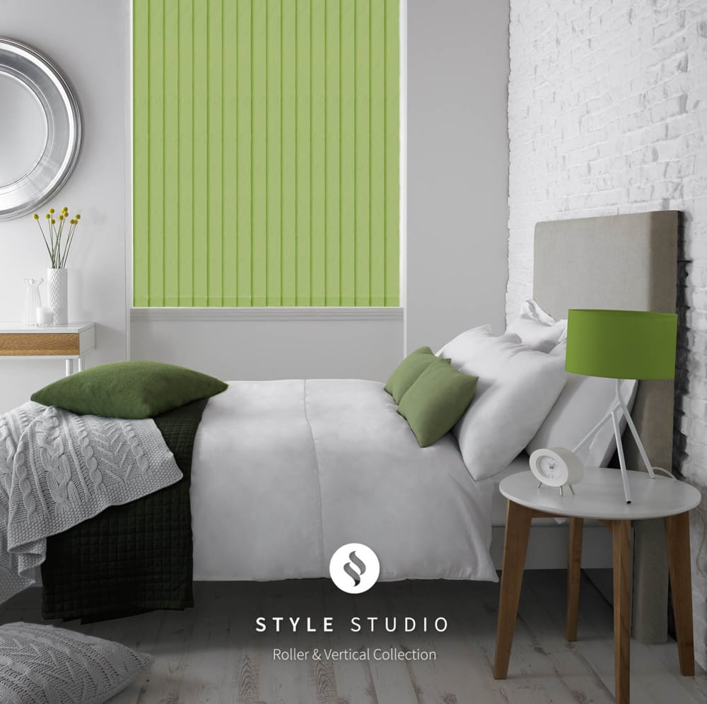 Wake up fresh as a daisy with green vertical blinds for the bedroom Eclipse Fresh Apple fabric
