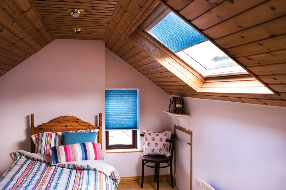 Pleated blinds are ideal for awkward shaped bedroom windows