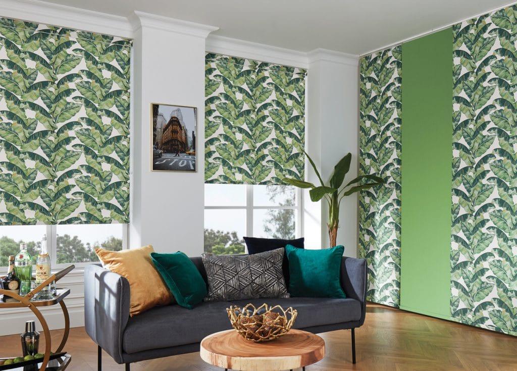 Roller blind in palm leaf fabric. - Blinds Norfolk - Norwich Sunblinds