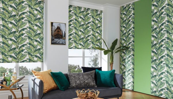Roller blind in palm leaf fabric - Blinds Norfolk - Norwich Sunblinds