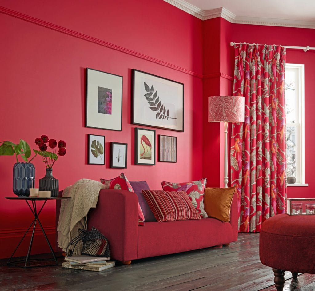 Red living room curtains and soft furnishings - Curtains Norfolk - Norwich Sunblinds