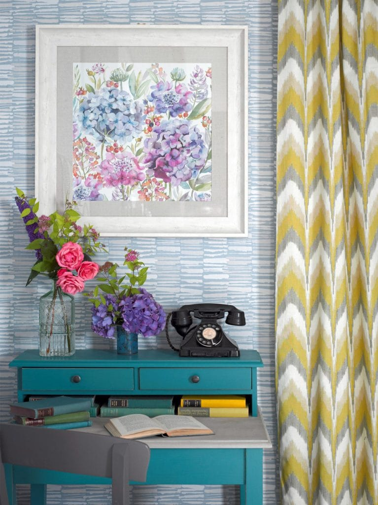 Channel a retro vibe with a yellow and grey print Rashieka's Garden fabric - Curtains Norfolk - Norwich Sunblinds