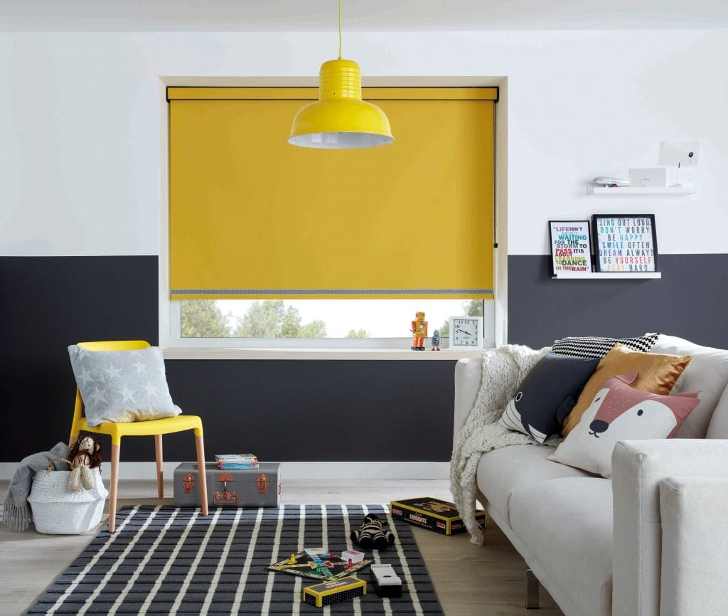 Create a positive, welcoming feel in your home with sunshine yellow Roller blinds in Carnival blackout fabric Blinds Norfolk - Norwich Sunblinds