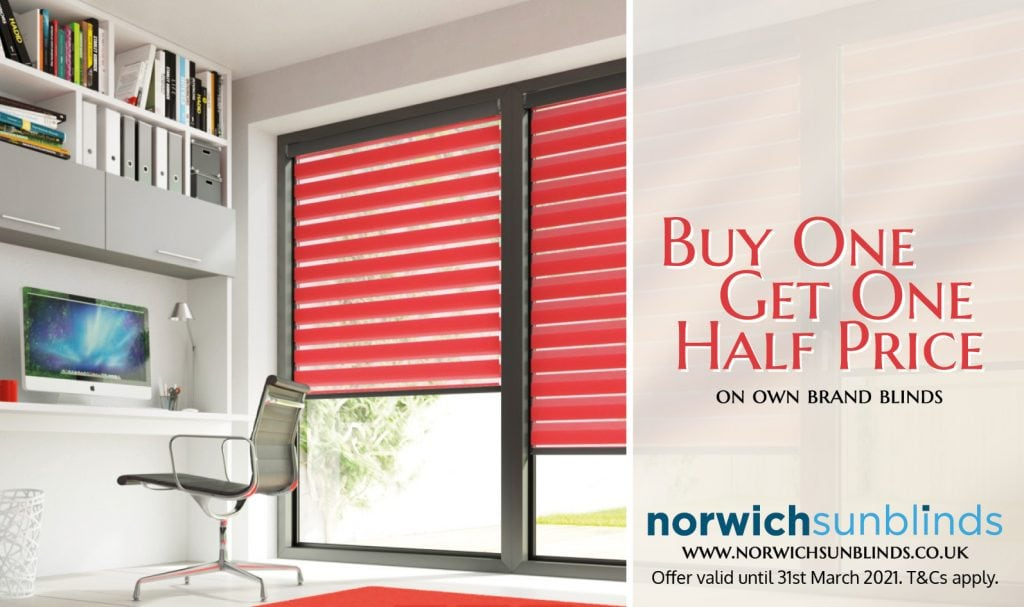 Buy one, get one half priced offer for March 2021- Blinds Norfolk - Norwich Sunblinds