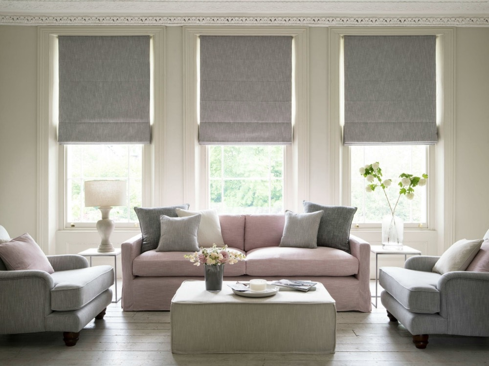 Grey Roman blinds create a luxuriously simple style statement Biarritz fabric - Blinds Norfolk - Norwich Sunblinds