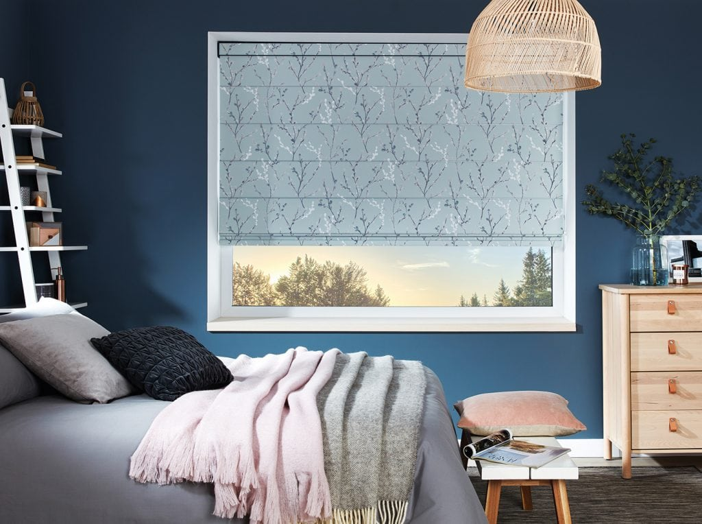 We can make your soft furnishings as well as your blinds Roman blinds in Morning Mist fabric - Blinds Norfolk - Norwich Sunblinds