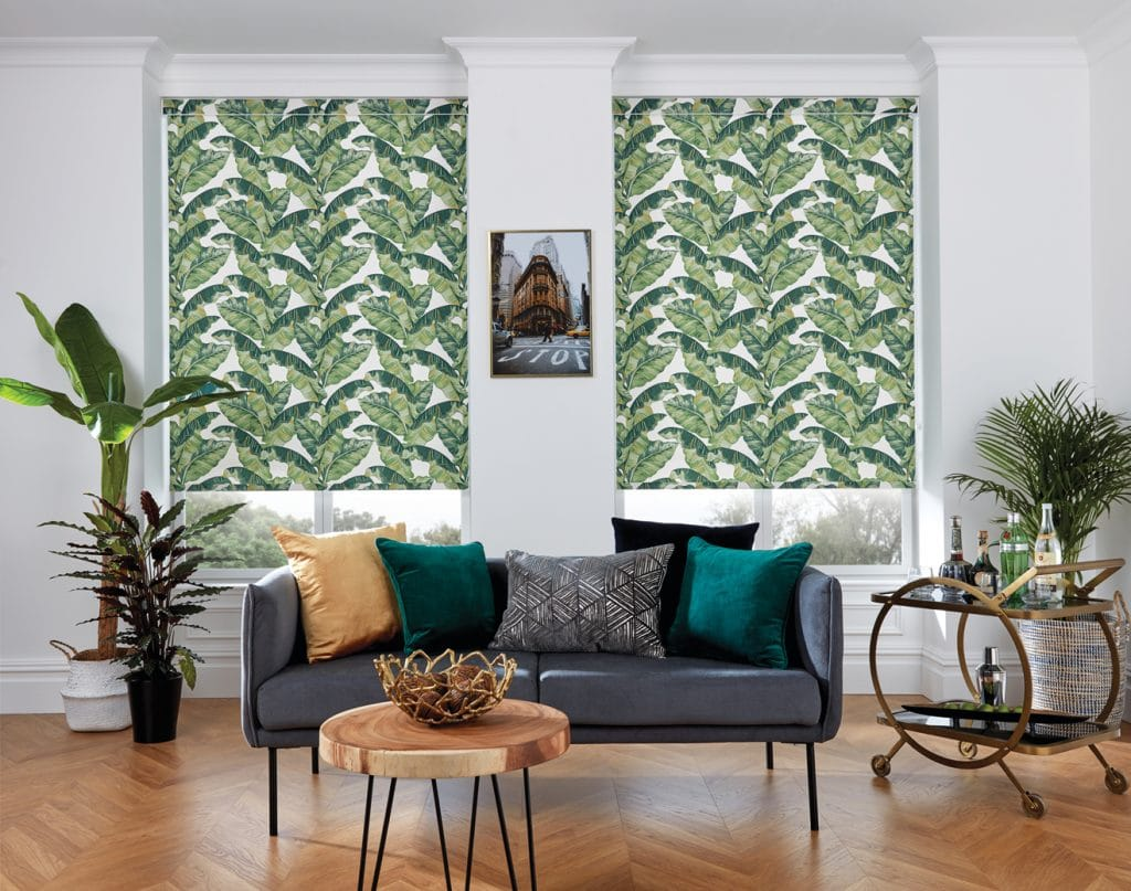 This Palm Leaf fabric works well for Panel Blinds and Roller Blinds - Blinds Norfolk - Norwich Sunblinds