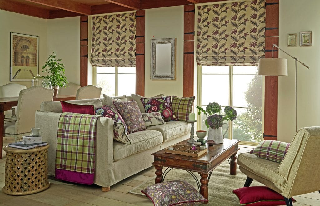 Create an artistic impression Arts and Crafts Thistle fabric - Blinds Norfolk - Norwich Sunblinds