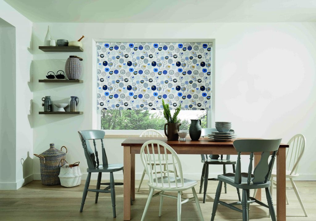 Bring the spring garden inside with a bird print fabric Birdsong Daybreak fabric - Blinds Norfolk - Norwich Sunblinds