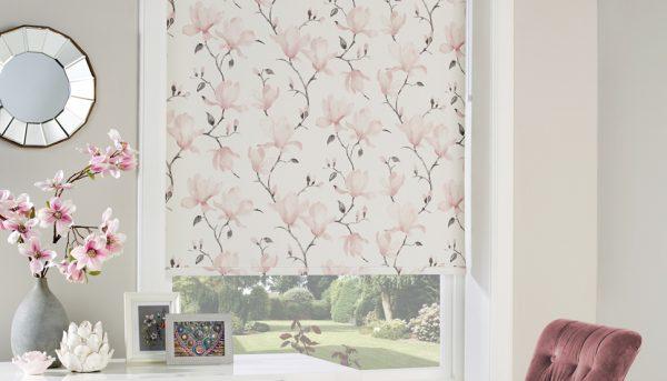 Roller blind in Magnolia Rose fabric - Blinds Norfolk - Norwich Sunblinds