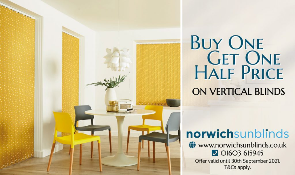 Buy one Vertical Blind, Get One Half Price Blinds Norfolk - Norwich Sunblinds