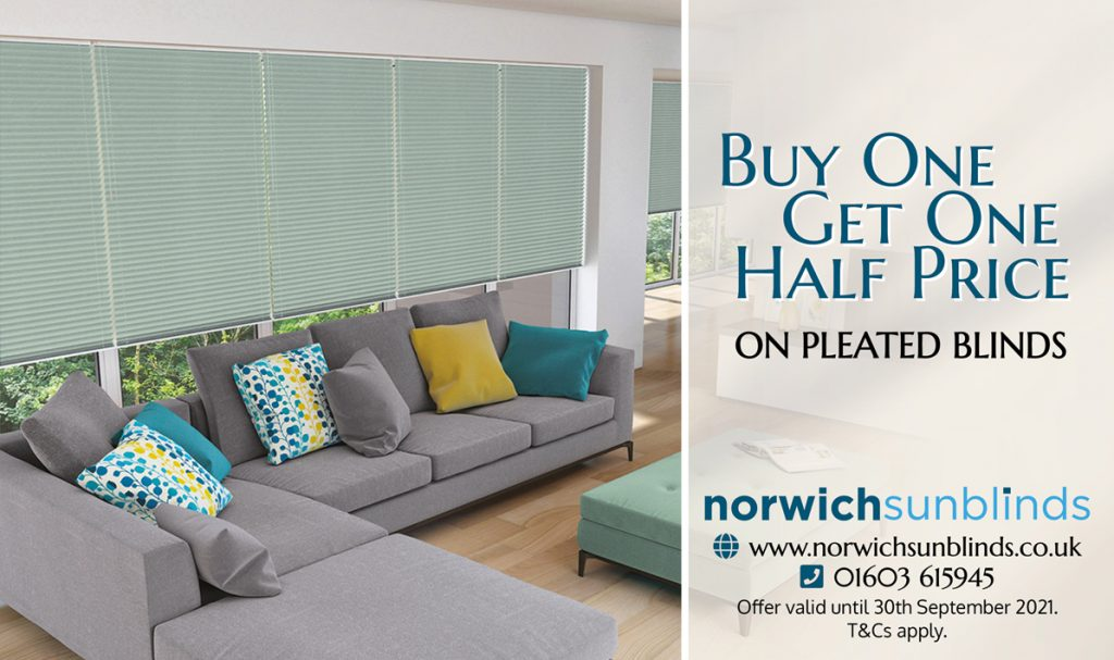 Buy One Get One Half Price on Pleated Blinds from Norwich Sunblinds