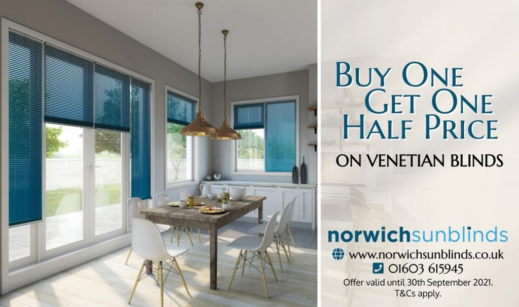 Buy One Get One Half Price on Venetian Blinds from Norwich Sunblinds